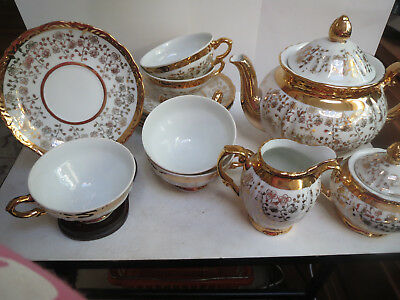 Schirnding - Bavaria - Tea Set - Teapot/Creamer/Covered Sugar/5 Cups/6 Saucers