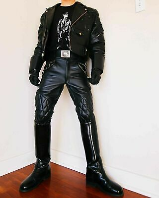 Men's Black Real Genuine Leather Pant Motorcycle BLUF Breeches Jeans Trousers