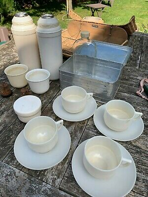 Vintage 50's Picnic Set Wicker Basket Goodwood VW Camper Glass Melamine Thermos