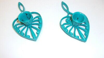 Small Decorative Cast Iron Trivets with Candle Holder Painted Blue Made in Japan