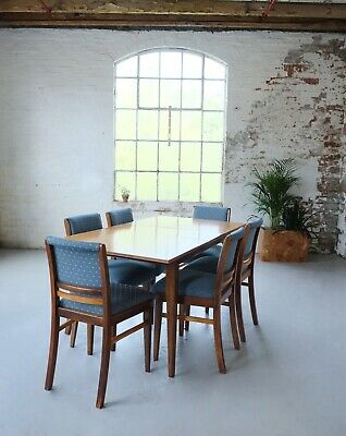 Set of 6 Solid Pale Oak Dining Chairs / Vintage Mid Century / New Upholstery