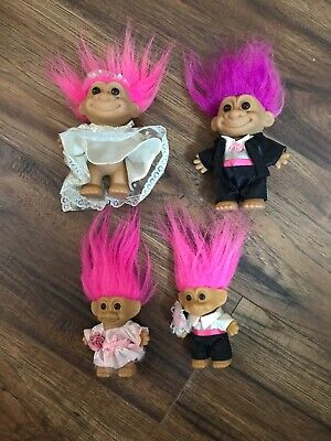 LOT of (4) RUSS TROLL DOLLS WEDDING DOLLS BRIDE GROOM VINTAGE