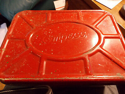Vintage EMPECO Metal Tin Picking Scene- Vented Bread Box Red/Tan Color