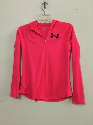 Under Armour Size YLG/JG Heat Gear Loose Pink Hoodie Girls Kids Athletic Top