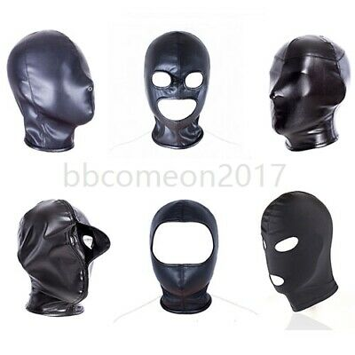 Slave Head Hood Mask Headgear PU Leather Harness Restraints Roleplay Bondage Set