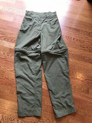 The North Face Women's Olive Green Convertible Nylon Hiking Outdoor Pants Size 6