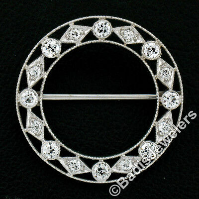 Antique Art Deco 18K Gold .92ctw Old European Diamond Milgrain Wreath Brooch Pin