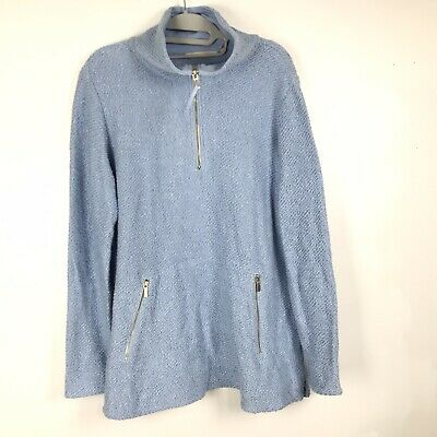 Soft Surroundings Womens Solid Blue Tight Knit Zipper Neck Sweater Large