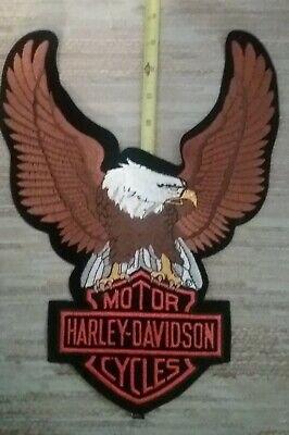 1990 Nos New Xxl Discontinued Harley Davidson Up Wing Eagle Patch  13.5 X 10.5 ""