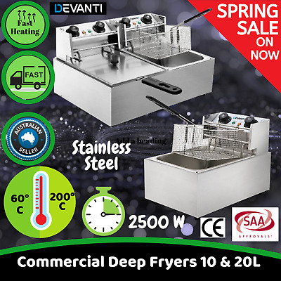 Commercial Deep Fryer 10L 20L Electric Rapid Heat Stainless Steel Benchtop Size