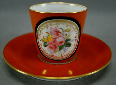 Antique Sevres Style Hand Painted Pink Roses Orange Gold Demitasse Cup & Saucer