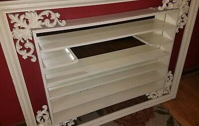 STUNNING Vintage ANTIQUE WHITE Huge SHADOW BOX Wall Display~ORNATE~MIRRORED!