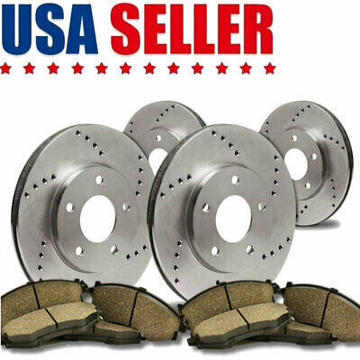 Front+Rear Drilled Slotted Brake Rotors Ceramic Pads For 2005-2010 Honda Odyssey