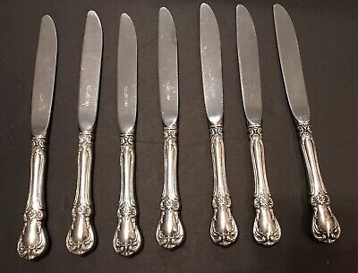 """Set of 8 Sterling Silver Handle Towle Old Master Dinner Knife Knives 8 7/8 """""""