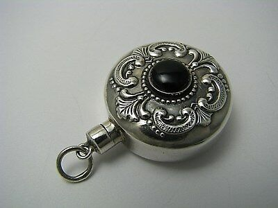 STERLING SILVER PERFUME BOTTLE PENDANT SCENT FLASK w/ ONYX STONE ca1970's