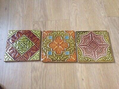 THREE GENUINE VICTORIAN Or EDWARDIAN TILES Excellent Condition