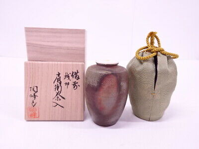4336889: Japanese Tea Ceremony / Bizen Ware Tea Caddy By Toho Kimura Cha-Ire
