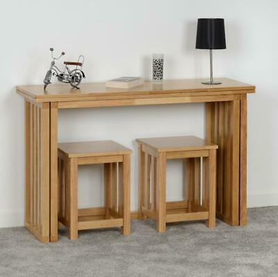 Oak Varnish Fold Away Extending Dining Table & 2 Stools RICHIE