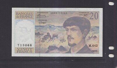 FRANCE-1993-20 FRANC BANKNOTE-FINE USED-$12-local freepost