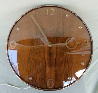 "Vintage Art Deco Smiths Sectric 12"" Wood & Copper Electric 240V Wall Clock"