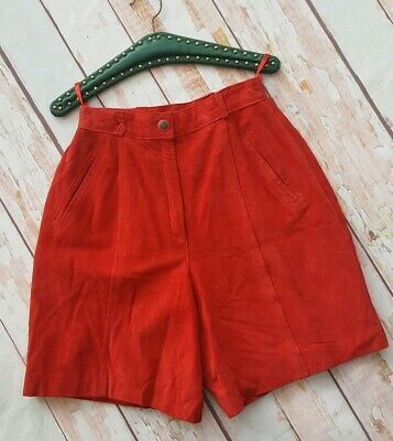 Vintage 80s high waist Forenza red suede culotte shorts 12 W28