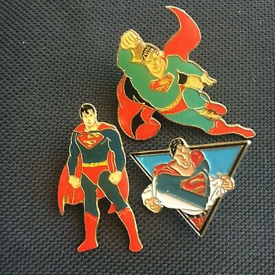 LOTE x3 Pins diferentes  - DC Comics SUPERMAN Pins - From Spain años 90'