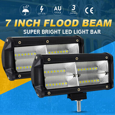 2X 7inch CREE LED Light Bar Spot Flood Off road Fog Driving Work 4WD 4x4 Reverse