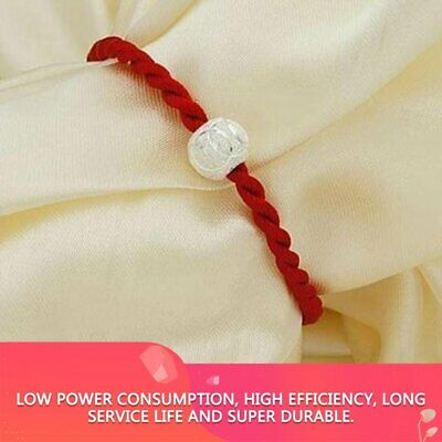 Chinese Feng Shui Lucky Red String Rope Hand-woven Pieces With Silver Beads ND