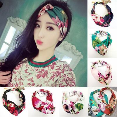 Girl Elastic  Head Wrap Knotted Hair Band Floral Headband Wide Satin Turban