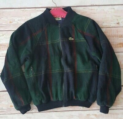 Vintage 80s 90s Lacoste plaid wool zip up bomber varsity jacket M