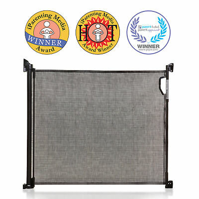 Dreambaby Retractable Mesh Safety Gate, Baby & Dog Pet Stair Gate, 140 cm, Black