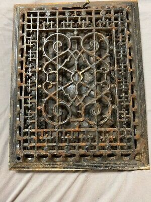 Vintage Industrial Steampunk Original Antique Cast Iron Wall Ornate Grate