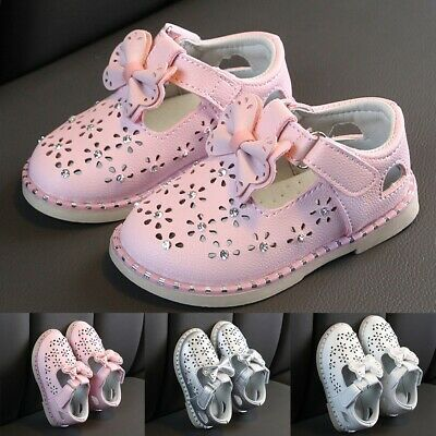 Children Infant Kid Baby Girls Cute Bowknot Crystal Single Princess Casual Shoes