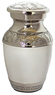 Mini Keepsake Urn For Ashes ,Cremation Funeral Memorial White Small Token Urn
