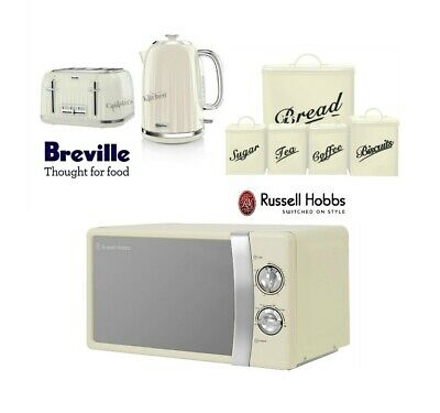 Breville Kettle and Toaster Set & Russell Hobbs Microwave & Canister Set Cream
