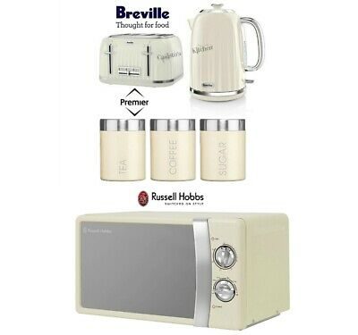 Cream Breville Kettle and Toaster Set & Russell Hobbs Microwave & Canister Set