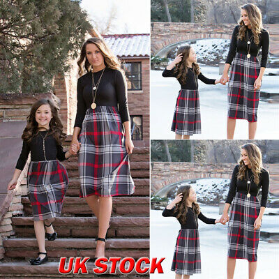 Family Matching Clothes Women Girls Mother Daughter Winter Plaid Dresses Outfits