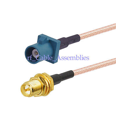 "Universal Fakra male ""Z"" to RP-SMA female pigtail Cable RG316 15cm for Wireless"
