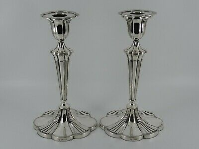 Large George V Solid Sterling Silver Pair Of Candlesticks Sheffield 1918 1051G