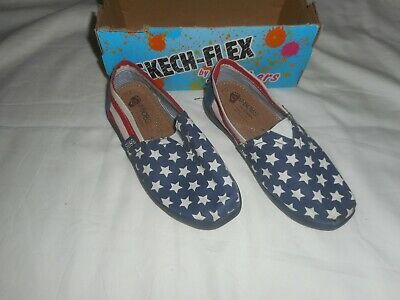 Girls Bobs Skechers Red White Blue Flag Shoes  Size 12
