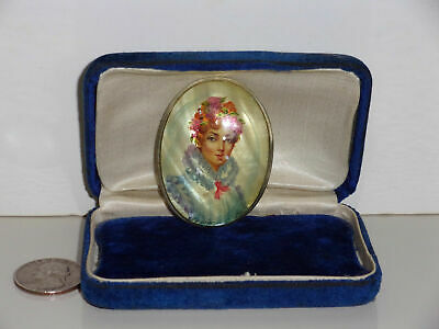 Russian Vintage Hand Painted Miniature Portrait Brooch Mother of Pearl Signed