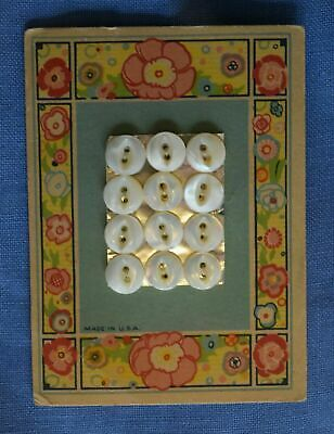 7460 Pretty Antique Mother of Pearl Shell Button Card, Floral Graphics
