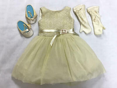 American Girl 2005 Gala Party Outfit (Pale Yellow Dress, Shoes & Gloves)