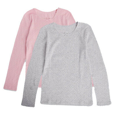 Marks & Spencer 2 Pack Girls Thermal Long Sleeve Tops New Warm M&S Winter Vests