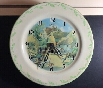 Vintage 1930s-1940s Tin Plate Smiths Wind Up Kitchen Wall Clock With Key