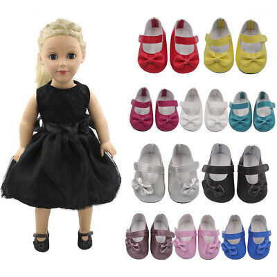 18Inch Doll Shoes Girl Bow Colourful Glitter Dress Shoes Handmade Cute New D2H5C