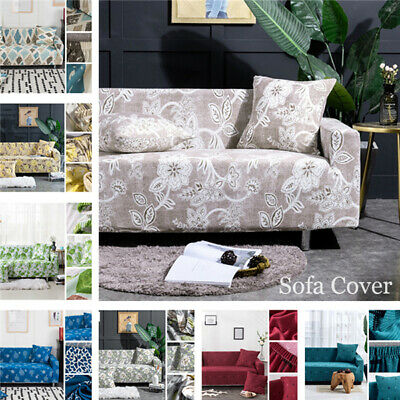1/2/3/4 Sofa Cover Couch Stretch Protector Floral Universal Slipcover Decoration