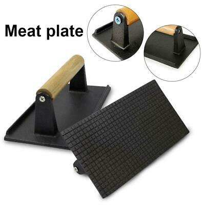 Cast Iron Bacon Press Grilling BBQ Heavy Duty Steak Weight Burger Wooden Handle