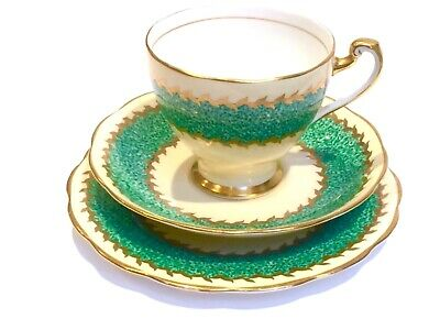Tea cup saucer trio tea plate Roslyn Green Art Deco style green gold tea party