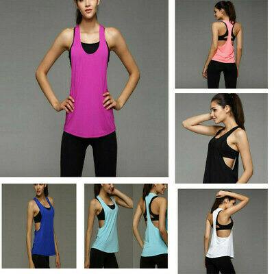 Casual Womens Summer Sexy Loose Gym Sport Vest Training Run Blouse Tops Shirt